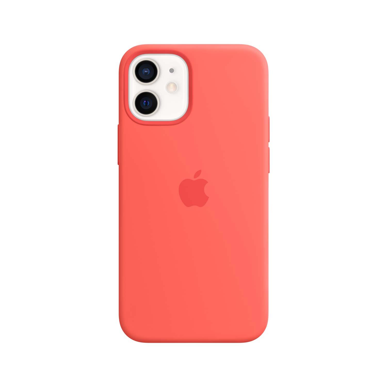 Apple iPhone 12 Mini Silikon Case mit MagSafe - Zitruspink