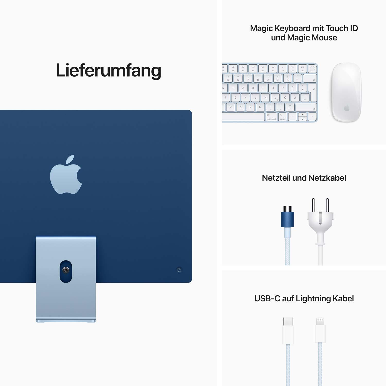 iMac 24'' M1 8-Core GPU - Gigabit Ethernet - blau  - 8GB - 256GBSSD - Maus - TID