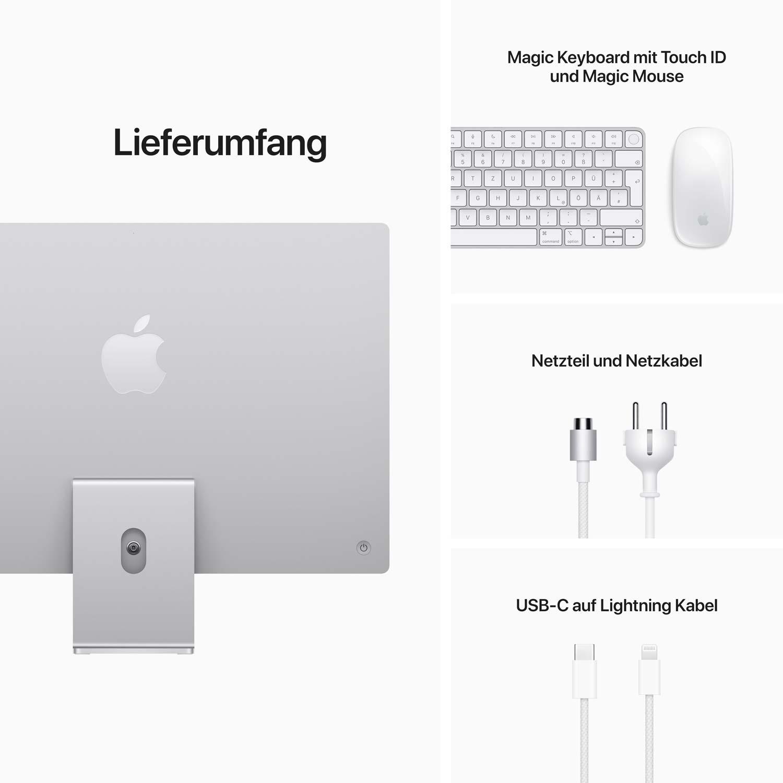 iMac 24'' M1 8-Core GPU - Gigabit Ethernet - silber - 8GB - 256GBSSD - Maus - TID
