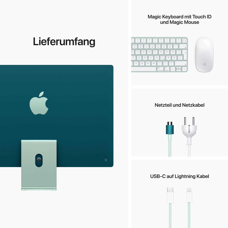 iMac 24'' M1 8-Core GPU - Gigabit Ethernet - grün - 8GB - 256GBSSD - Maus - TID
